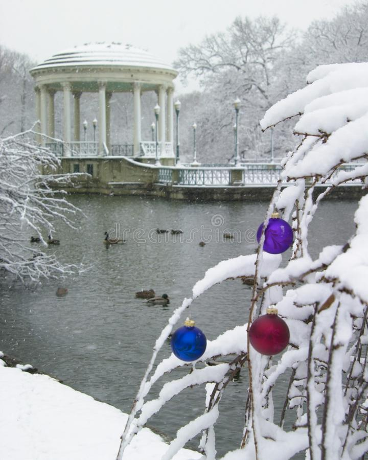 Roger Williams Park. The Gazebo at Roger Williams Park in Providence, Rhode Island, looks so peaceful as it is covered with snow. Image taken from color slide stock photo