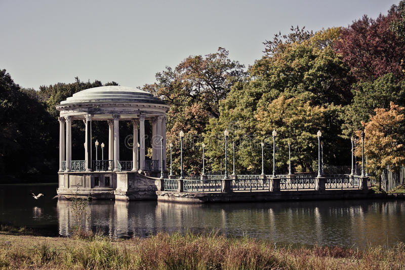 The Gazebo, Roger Williams Park. A vintage look at the gazebo at Roger Williams Park in Providence, RI stock images