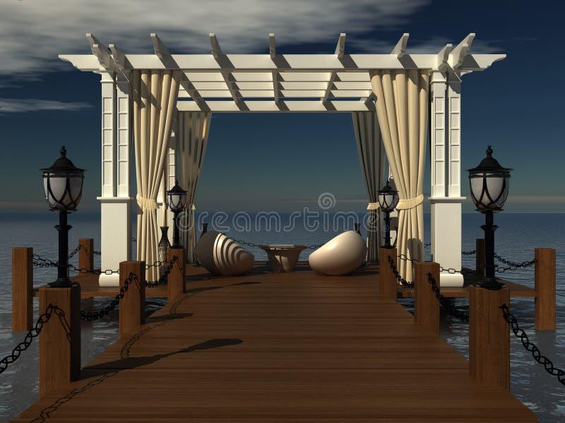 gazebo romantique de mariage avec le pergola en bois illustration stock illustration du. Black Bedroom Furniture Sets. Home Design Ideas