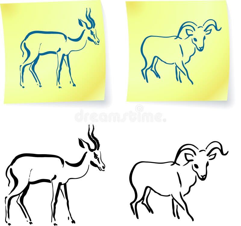 gazelle οι σημειώσεις ταχυδρ&omic απεικόνιση αποθεμάτων