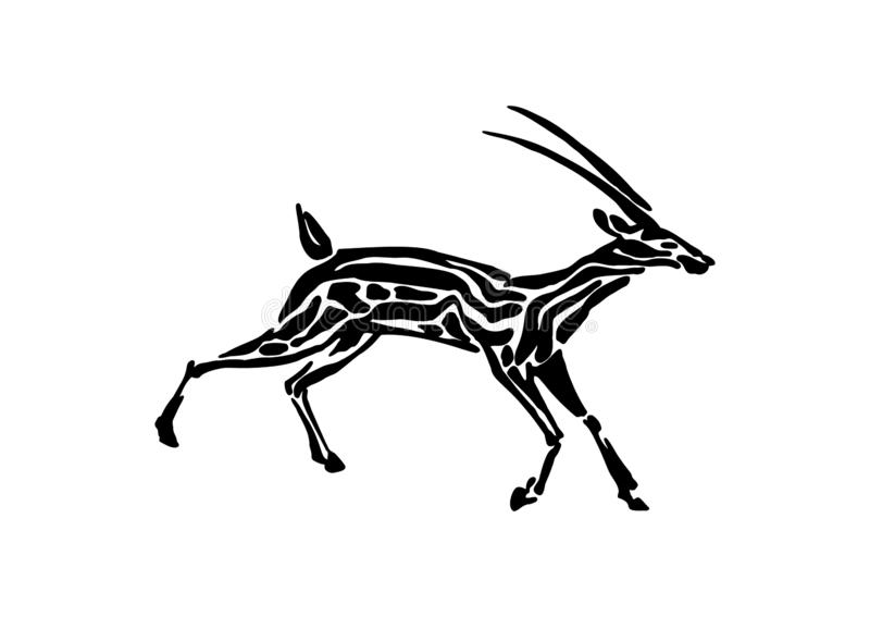 Gazelle animal decorative vector illustration painted by ink, hand drawn grunge cave painting, black isolated running silhouette royalty free illustration