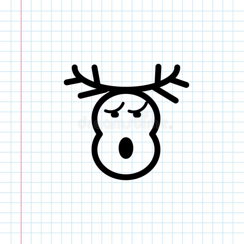 Hand drawn deer , gazelle head icon. stock illustration