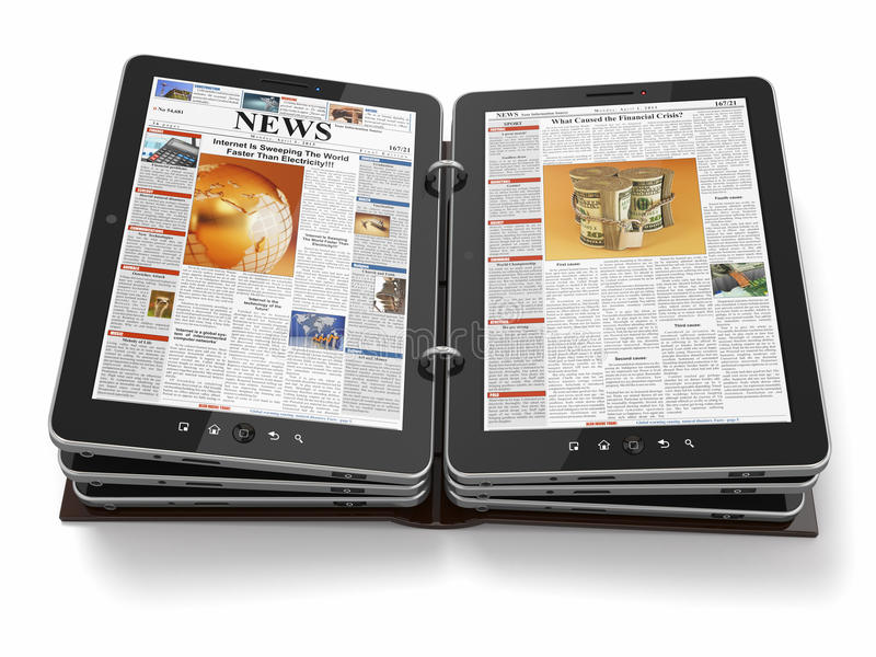 Gazeta lub magazyn od pastylka komputeru osobisty. ilustracji