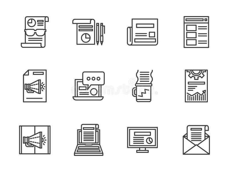 Gazetki czerni linii ikony ustawiać ilustracji