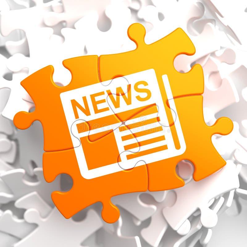 Gazetowa ikona z wiadomości słowem na Pomarańczowej łamigłówce. ilustracji