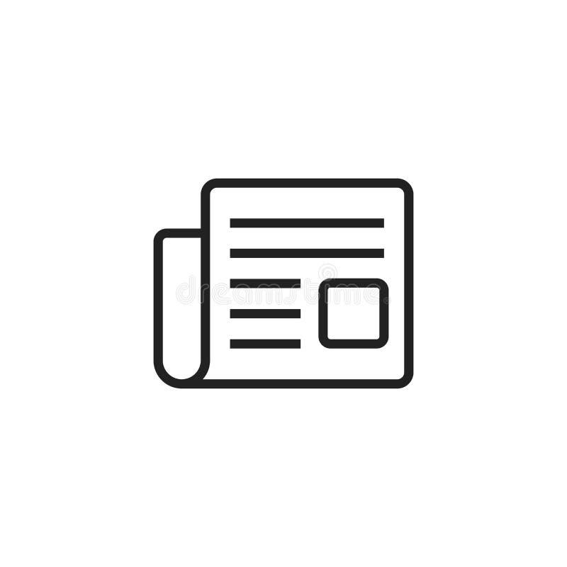 Gazetowa płaska wektorowa ikona Wiadomość symbolu loga ilustracja royalty ilustracja