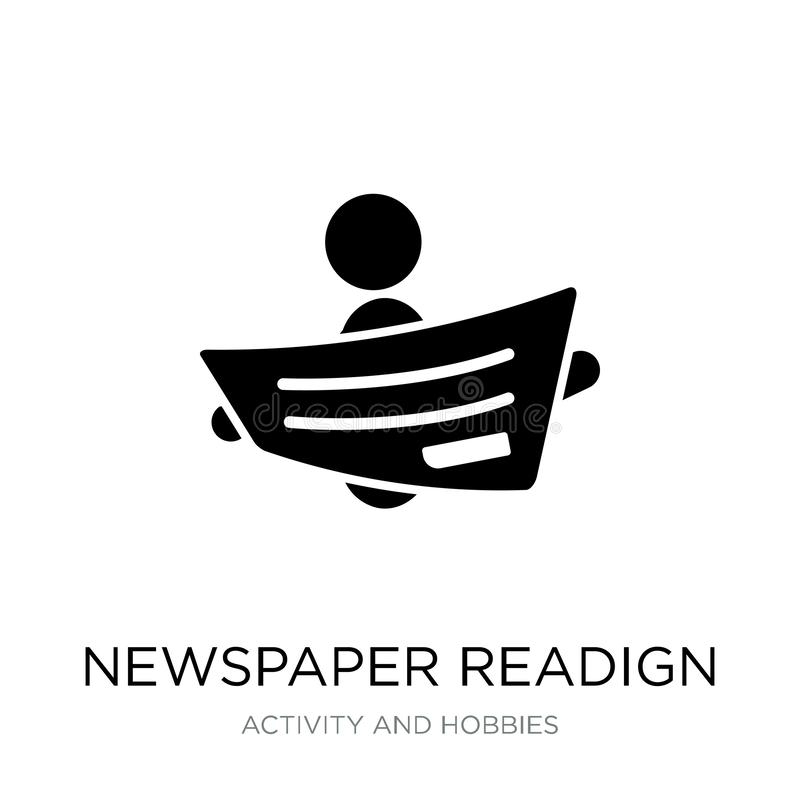 gazetowa readign ikona w modnym projekta stylu gazetowa readign ikona odizolowywająca na białym tle gazetowa readign wektoru ikon ilustracji
