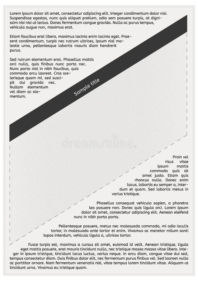 Gazetowa strona z pustą przestrzenią ilustracji