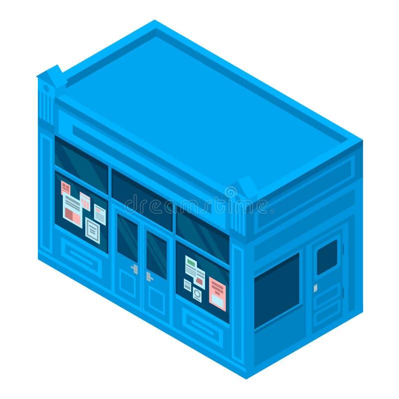 Gazetowa ulica sklepu ikona, isometric styl ilustracji
