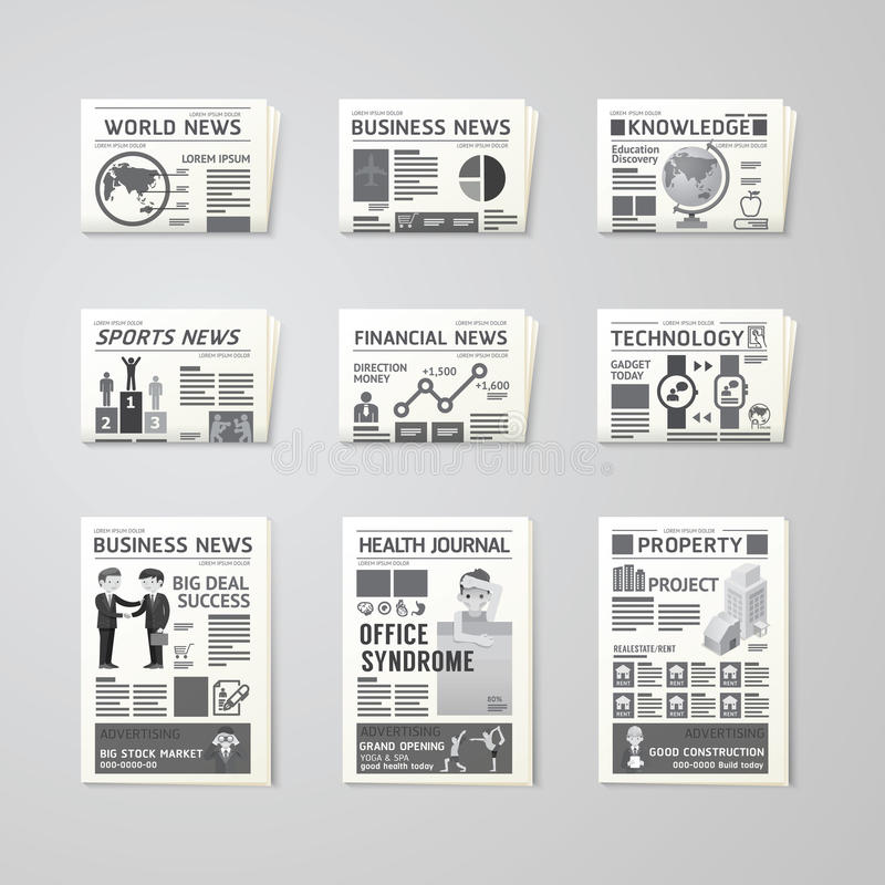 Gazetowego dziennego płaskiego wektoru projekta ustalony szablon biznes, zdrowie, royalty ilustracja