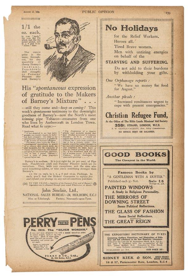 Gazetowi angielscy obrazki Używać strona teksta reklamy papier z powrotem zdjęcie royalty free