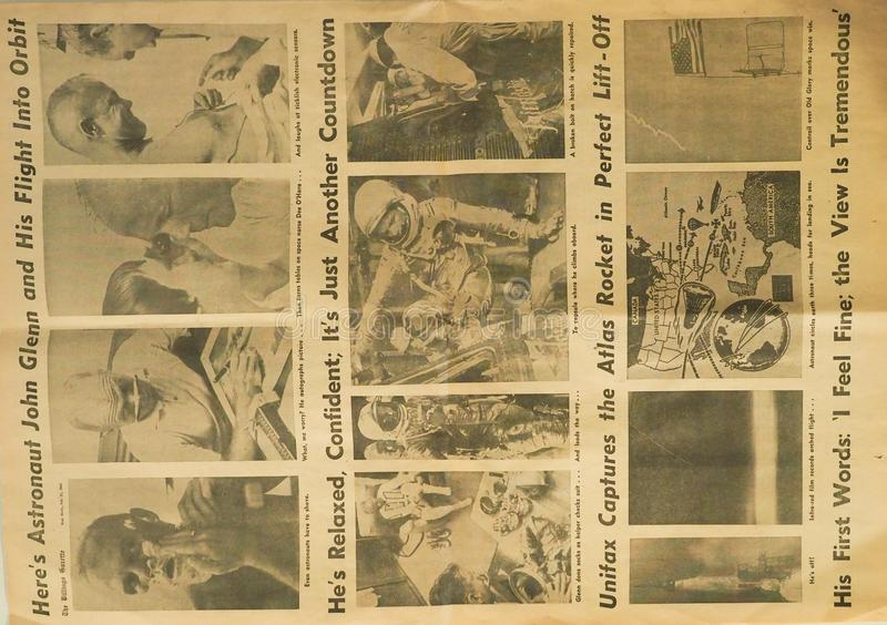 Gazetowy ścinek astronauta John Glenn zdjęcie stock