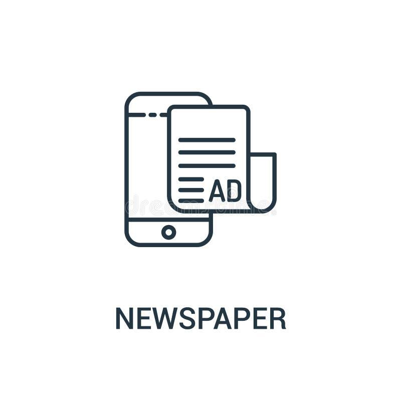 gazetowy ikona wektor od reklam inkasowych Cienka kreskowa gazetowa kontur ikony wektoru ilustracja Liniowy symbol dla używa na s royalty ilustracja