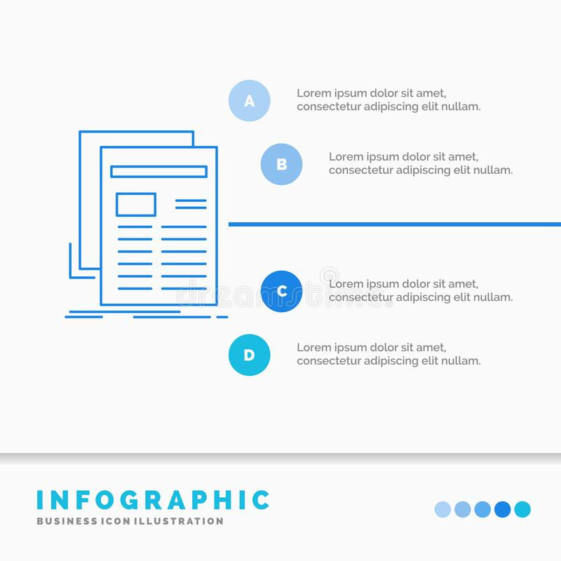 Gazette, media, news, newsletter, newspaper Infographics Template for Website and Presentation. Line Blue icon infographic style royalty free illustration