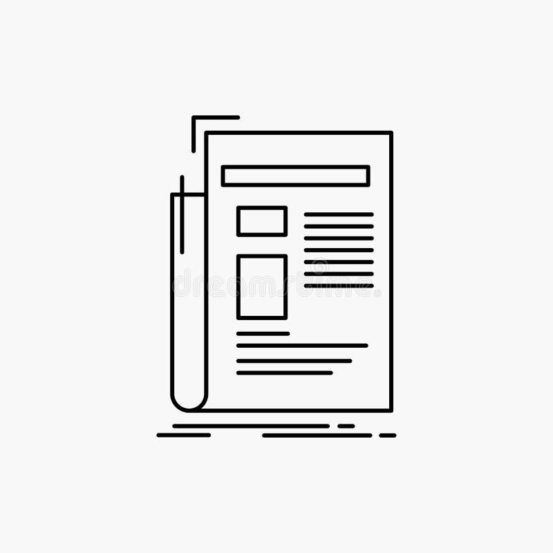 Gazette, media, news, newsletter, newspaper Line Icon. Vector isolated illustration vector illustration