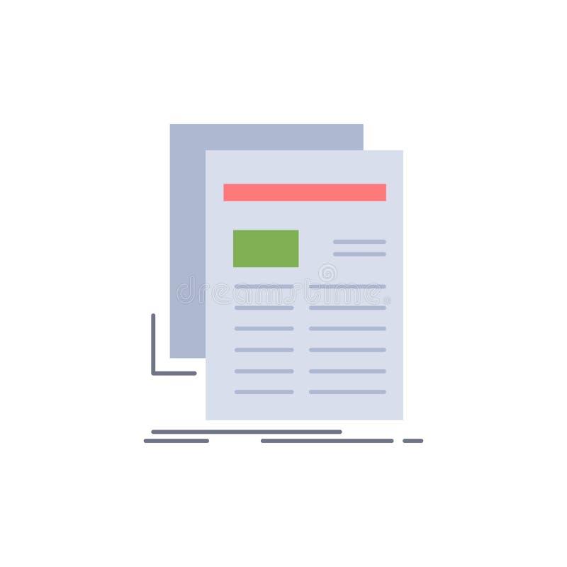 Gazette, milieu, nouvelles, bulletin d'information, vecteur plat d'icône de couleur de journal illustration libre de droits