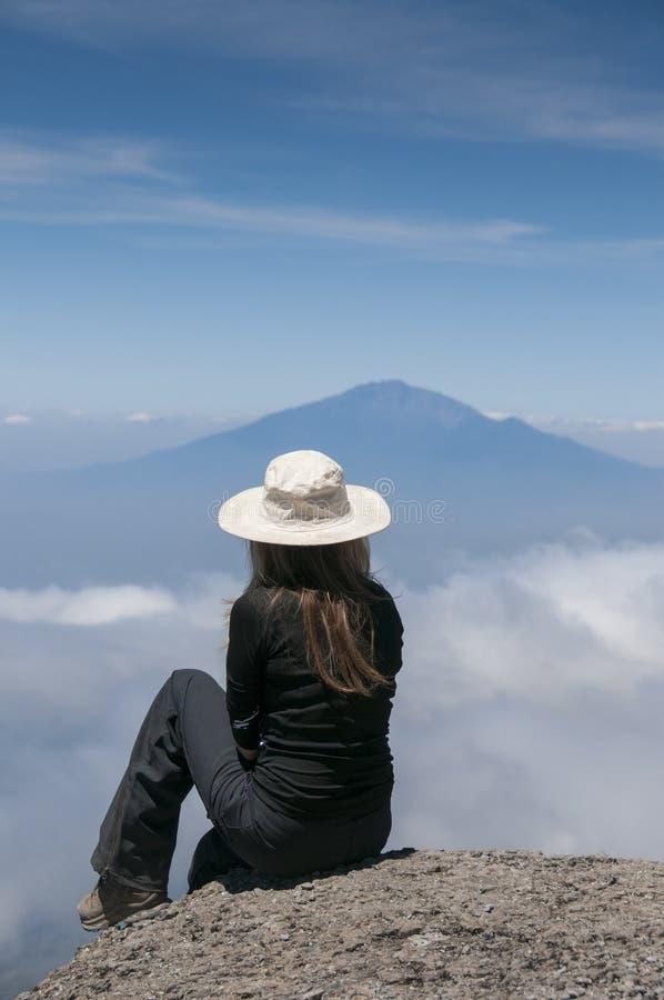 Gazing over to Mount Meru, from Kilimanjaro stock photography