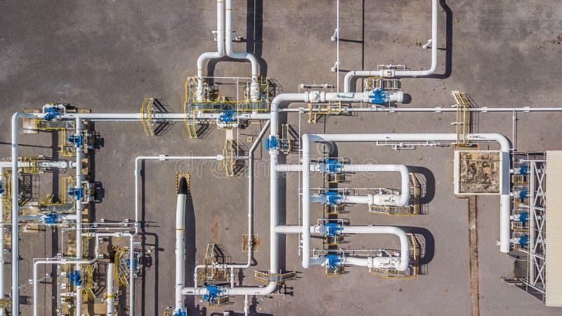 Gazoduc naturel aérien de vue supérieure, industrie du gaz, transpor de gaz photo stock