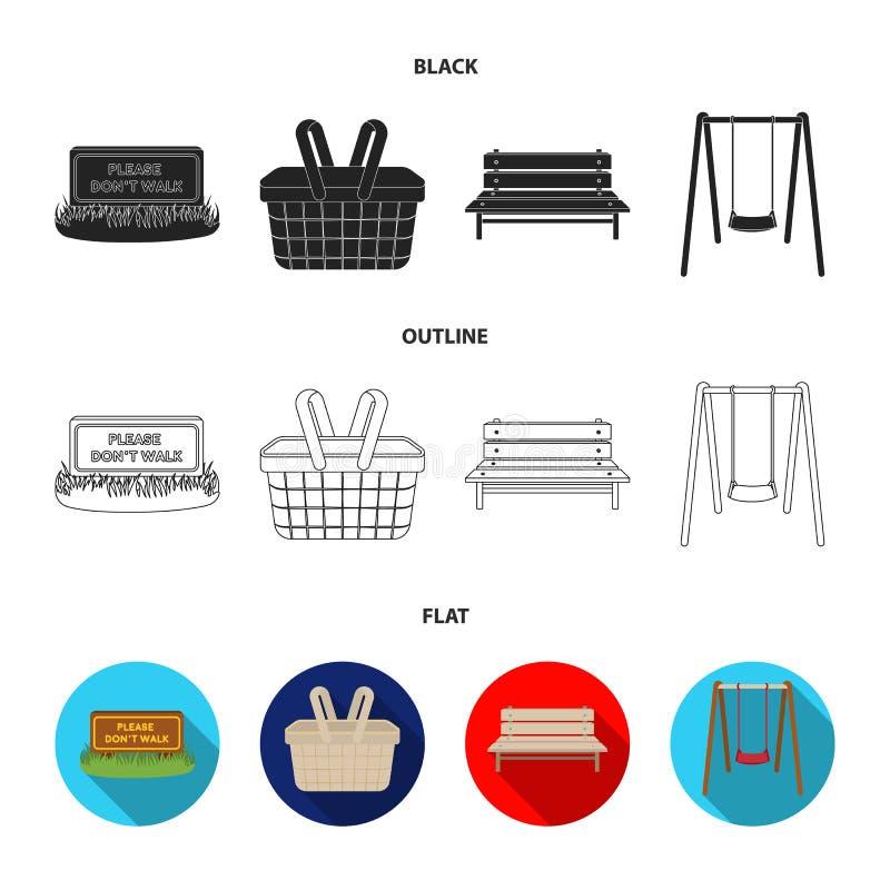 Gazon z znakiem, kosz z jedzeniem, ławka, huśtawka Park ustalone inkasowe ikony w kreskówka stylu symbolu wektorowym zapasie ilustracji