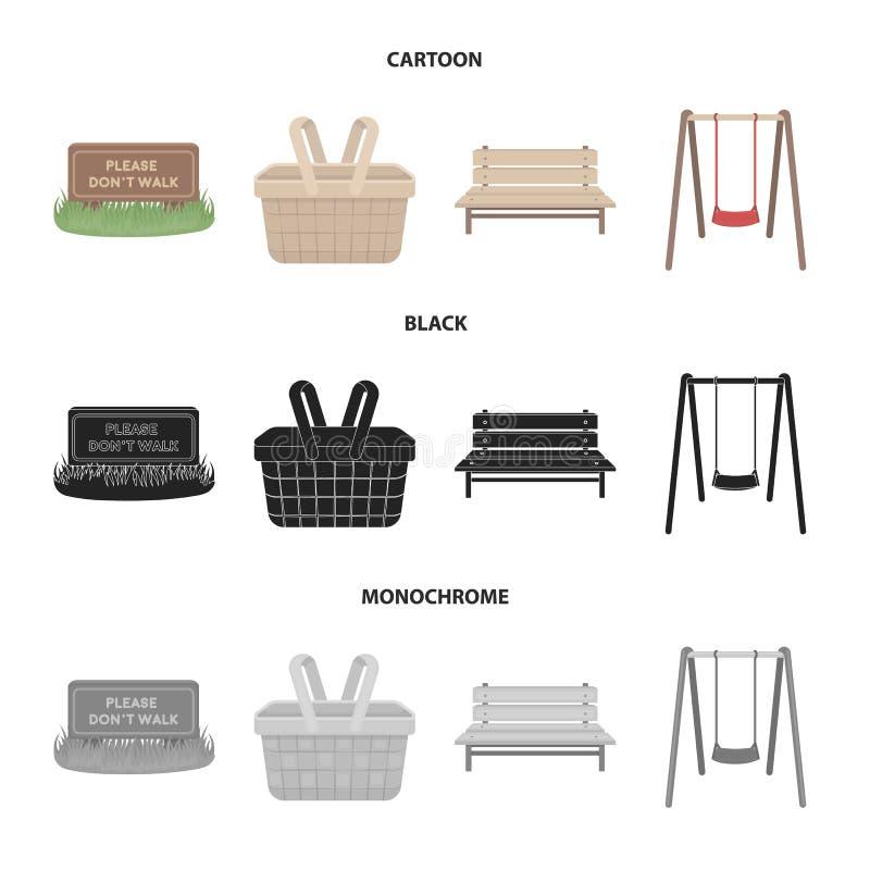 Gazon z znakiem, kosz z jedzeniem, ławka, huśtawka Parkuje ustalone inkasowe ikony w kreskówce, czerń, monochromu styl ilustracja wektor