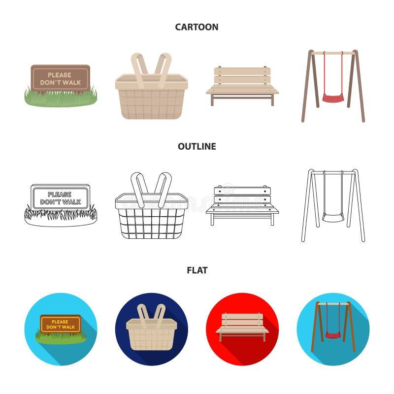 Gazon z znakiem, kosz z jedzeniem, ławka, huśtawka Parkuje ustalone inkasowe ikony w kreskówce, kontur, mieszkanie stylowy wektor royalty ilustracja