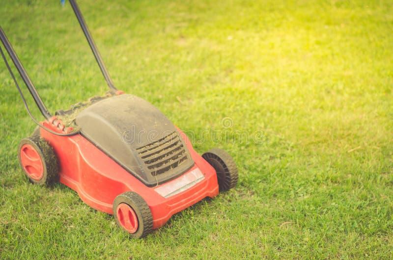 Gazonu kosiarz ciie zielonej trawy, czerwonego gazonu kosiarza na zielonym gazonie/ fotografia royalty free
