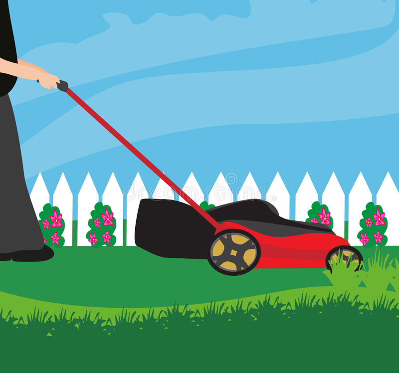 Gazonu kosiarz Z trawą ilustracji
