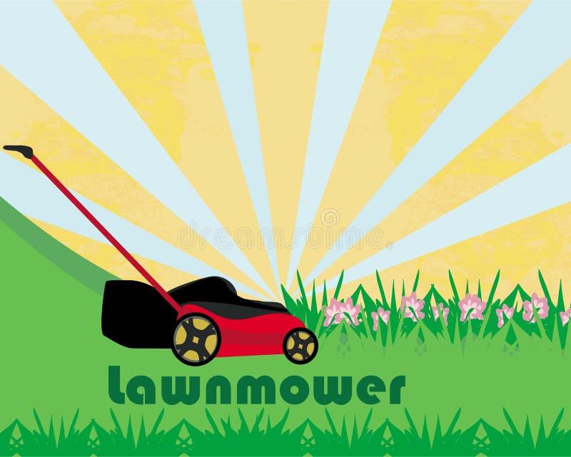 Gazonu kosiarz Z trawą - abstrakt karta ilustracja wektor