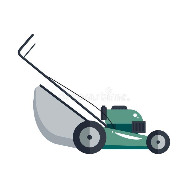 Gazonu kosiarza ikony technologii wyposażenia maszynowy narzędzie, uprawia ogródek krajacza - wektoru zapas ilustracja wektor