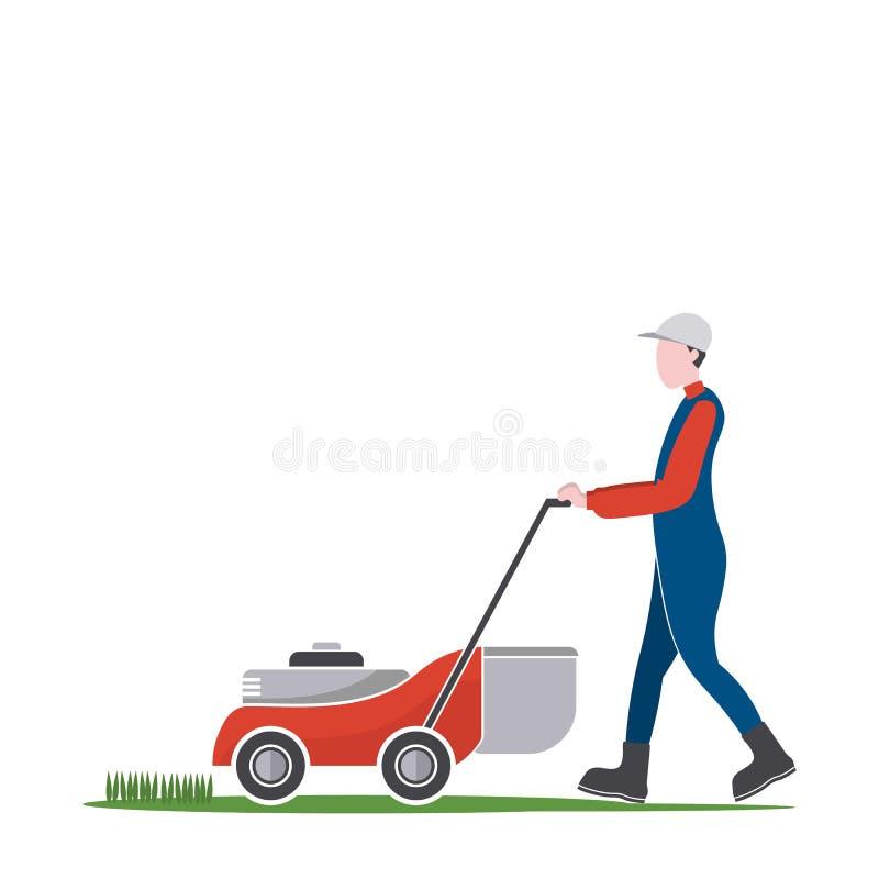 Gazonu kosiarza mężczyzna tnąca trawa, podwórko pracy royalty ilustracja