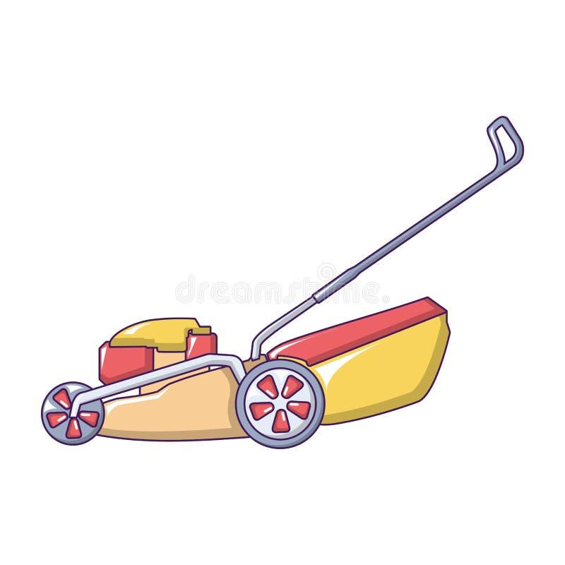 Gazonu kosiarza maszynowa ikona, kreskówka styl ilustracji