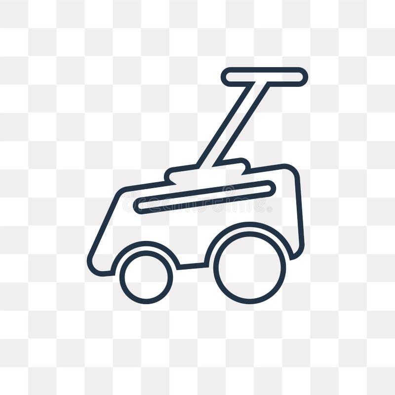 Gazonu kosiarza wektorowa ikona odizolowywająca na przejrzystym tle, linea ilustracji