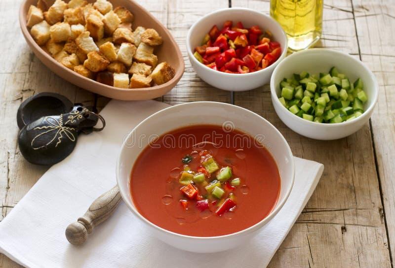 Gazpacho är en soppa som göras av rå grönsaker och tjänad som förkylning royaltyfri bild