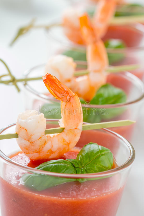 Gazpacho с креветками стоковая фотография