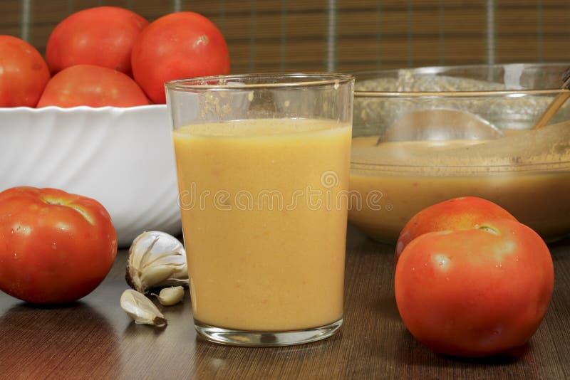 Gazpacho andaluz, receita de refrescamento da sopa do tomate imagens de stock royalty free
