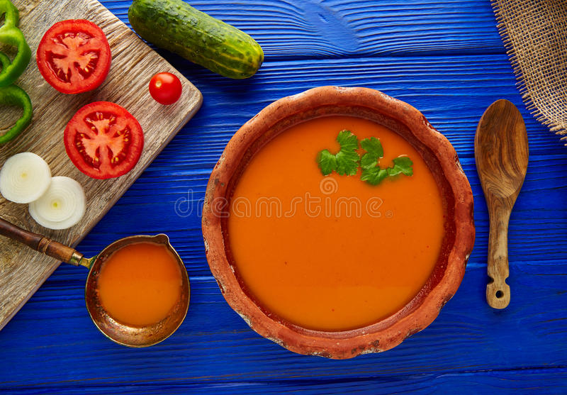 Gazpacho andaluz tomato soup and vegetables stock photo