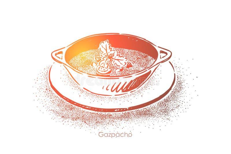 Gazpacho delicioso, puré de refrescamento com vegetais misturados, jantar gourmet da sopa, culinária mediterrânea ilustração stock