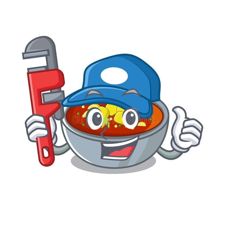 Gazpacho hydrauliczne wyizolowane w maskotce royalty ilustracja