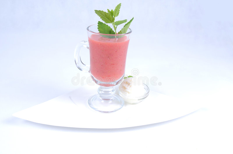 Gazpacho with lemon sorbet royalty free stock photography