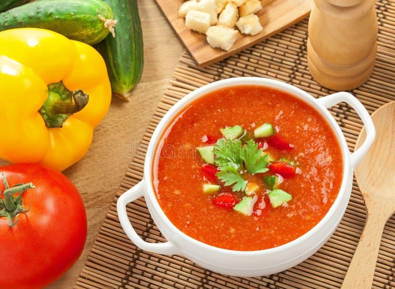 Gazpacho och ingredienser arkivfoto