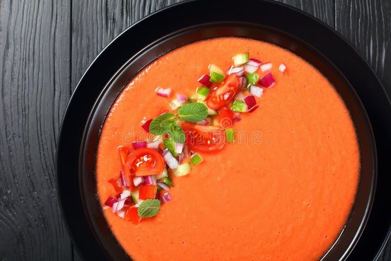 Gazpacho - soppa för sommar för spanjorstil kall fotografering för bildbyråer