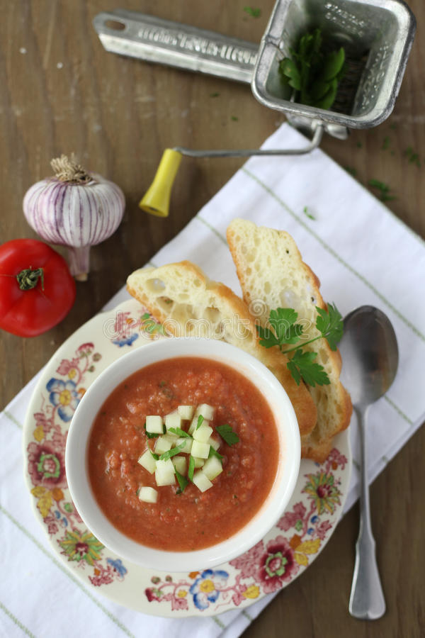 Gazpacho Soup and Ingredients stock photos