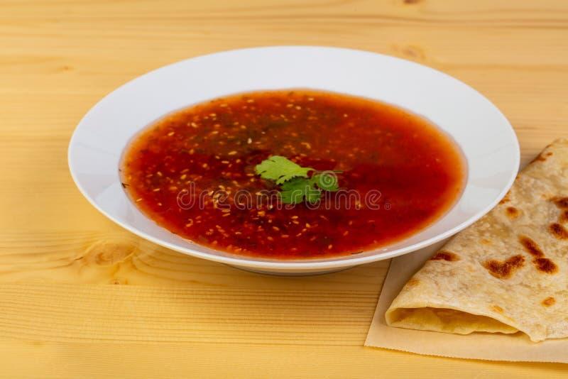 Gazpacho tomato soup stock image