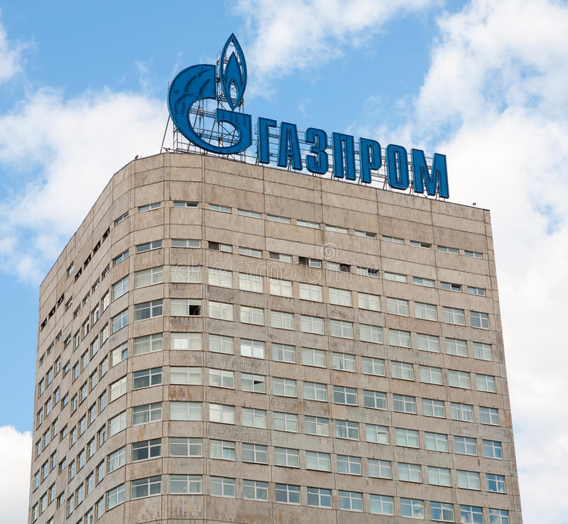 Gazprom företagsbyggnad fotografering för bildbyråer
