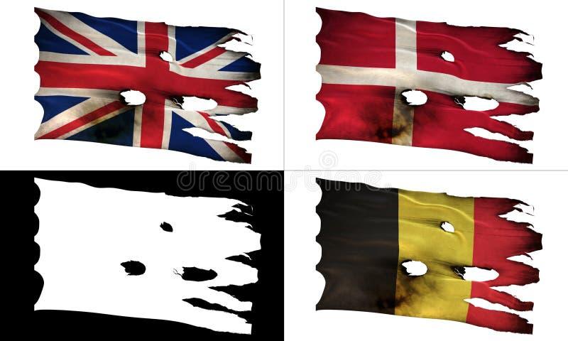 GB, DK, BE, perforated, burned, grunge fluttering flag alpha. GB, DK, BE, bullet perforated, burned, grunge standard flag waving on a wind with alpha luma matte stock illustration