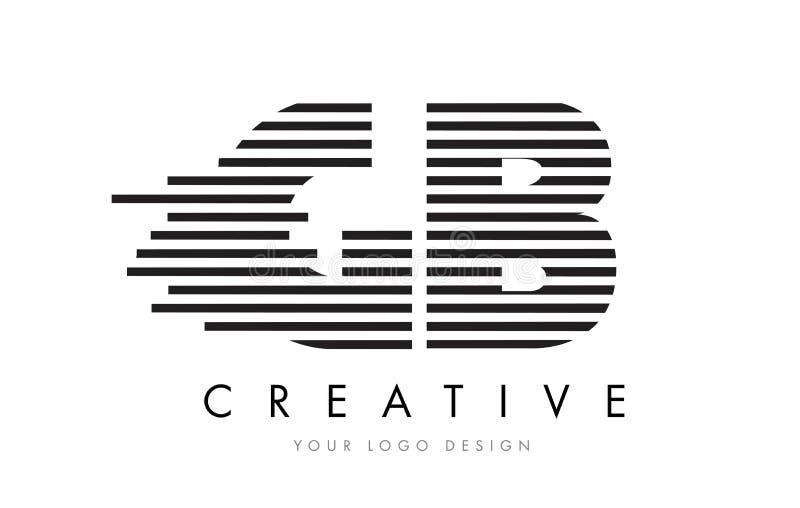 GB G B Zebra Letter Logo Design with Black and White Stripes royalty free illustration