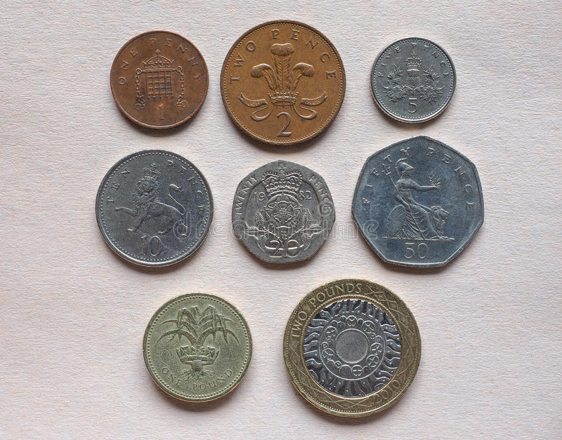 GBP Pound coins. British Pound coins currency of the United Kingdom stock image
