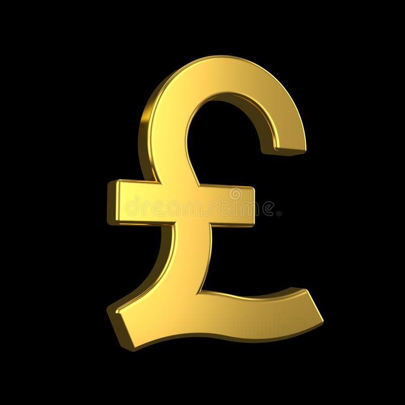 GBP tecken guld- symbol för brittiskt pund 3d på svart bakgrund framf?rande 3d royaltyfri illustrationer