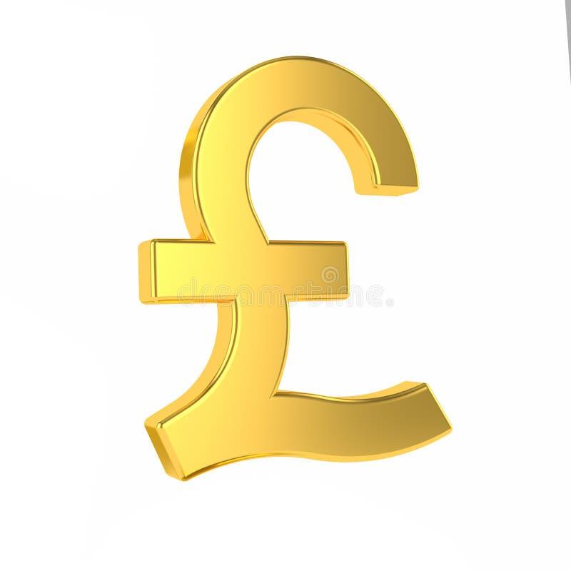 GBP-teken 3d gouden Brits die pondsymbool op witte achtergrond wordt ge?soleerd het 3d teruggeven vector illustratie