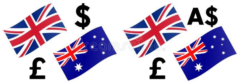 GBPAUD-forex de vectorillustratie van het muntpaar Britse en van Australië vlag, met Pond en Australisch dollarsymbool vector illustratie